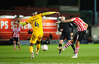 Lincoln City's Bruno Andrade scores his side's third goal<br /> <br /> Photographer Chris Vaughan/CameraSport<br /> <br /> Emirates FA Cup First Round - Lincoln City v Northampton Town - Saturday 10th November 2018 - Sincil Bank - Lincoln<br />  <br /> World Copyright © 2018 CameraSport. All rights reserved. 43 Linden Ave. Countesthorpe. Leicester. England. LE8 5PG - Tel: +44 (0) 116 277 4147 - admin@camerasport.com - www.camerasport.com