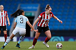 Aimee Palmer of Sheffield United runs from Asmita Ale of Aston Villa during the The FA Women's Championship match at the Proact Stadium, Chesterfield. Picture date: 12th January 2020. Picture credit should read: James Wilson/Sportimage