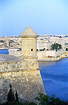 turret and water of the port Grand Harbour in Valletta island of Malta Europe