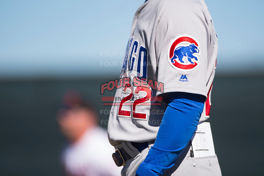 Mesa Solar Sox hitting coach Jesus Feliciano (22), of the Chicago Cubs organization, dons his team's logo while coaching first base during an Arizona Fall League game against the Scottsdale Scorpions at Scottsdale Stadium on November 2, 2018 in Scottsdale, Arizona. The shortened seven-inning game ended in a 1-1 tie. (Zachary Lucy/Four Seam Images)