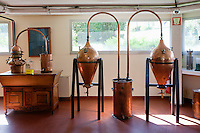 Old copper distillation equipment on display in the museum of the Galimard perfume factory and visitor centre, Grasse, France, 3 May 2013