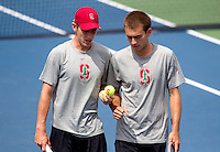 STANFORD, CA -- April 11, 2014: John Morrissey and Jamin Ball, during Stanford vs Washington on Friday afternoon at Taube Family Tennis Stadium.