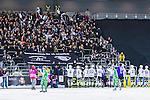 Stockholm 2014-01-10 Bandy Elitserien Hammarby IF - Sandvikens AIK :  <br /> Sandvikens AIK spelare jublar med Sandviken supportrar efter matchen<br /> (Foto: Kenta J&ouml;nsson) Nyckelord:  jubel gl&auml;dje lycka glad happy