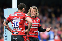 Billy Twelvetrees of Gloucester Rugby speaks to team-mate Matt Banahan. Gallagher Premiership match, between Gloucester Rugby and Bath Rugby on April 13, 2019 at Kingsholm Stadium in Gloucester, England. Photo by: Patrick Khachfe / Onside Images