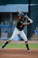 Bristol Pirates left fielder Jeremias Portorreal (16) at bat during a game against the Bluefield Blue Jays on July 26, 2018 at Bowen Field in Bluefield, Virginia.  Bristol defeated Bluefield 7-6.  (Mike Janes/Four Seam Images)