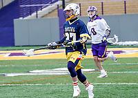 University at Albany Men's Lacrosse defeats Drexel 18-5 on Feb. 24 at Casey Stadium.  Drexel #27, Nolan Fox. (Photo by Bruce Dudek / Cal Sport Media/Eclipse Sportswire)