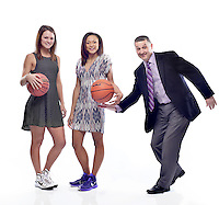 NWA Democrat-Gazette/BEN GOFF -- PHOTO ILLUSTRATION -- 03/18/15 The All-NWADG girls basketball selections (from left): Player of the Year Jordan Martin of Bentonville, Newcomer of the Year Lauren Holmes of Fayetteville and Coach of the Year Vic Rimmer of Fayetteville.