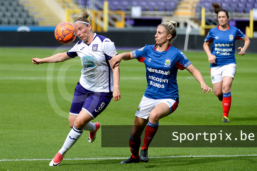 20190813 - ANDERLECHT, BELGIUM : Anderlecht's Jana Coryn (9) pictured during the female soccer game between the Belgian RSCA Ladies – Royal Sporting Club Anderlecht Dames and the Northern Irish Linfield ladies FC , the third and final game for both teams in the Uefa Womens Champions League Qualifying round in group 8 , Tuesday 13 th August 2019 at the Lotto Park Stadium in Anderlecht , Belgium  .  PHOTO SPORTPIX.BE   STIJN AUDOOREN