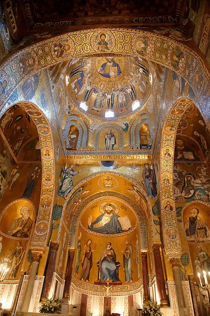Byzantine mosaics at the Palatine Chapel ( Capella Palatina ) Norman Palace Palermo, Sicily, Italy. Christ above the Alter.
