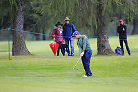 Paul Dunne (IRL) chips into the 9th green during Saturday's Round 3 of the 2017 Omega European Masters held at Golf Club Crans-Sur-Sierre, Crans Montana, Switzerland. 9th September 2017.<br /> Picture: Eoin Clarke | Golffile<br /> <br /> <br /> All photos usage must carry mandatory copyright credit (&copy; Golffile | Eoin Clarke)