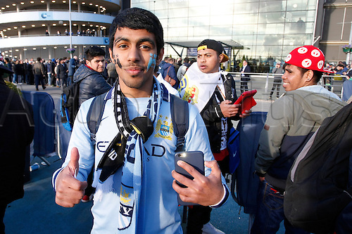 26.04.2016. The Etihad, Manchester, England. UEFA Champions League. Manchester City versus Real Madrid. Manchester City fan from Uruguay outside the Etihad Stadium before tonight's game.
