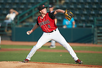 Hickory Crawdads starting pitcher A.J. Alexy (9) in action against the Kannapolis Intimidators at L.P. Frans Stadium on July 20, 2018 in Hickory, North Carolina. The Crawdads defeated the Intimidators 4-1. (Brian Westerholt/Four Seam Images)