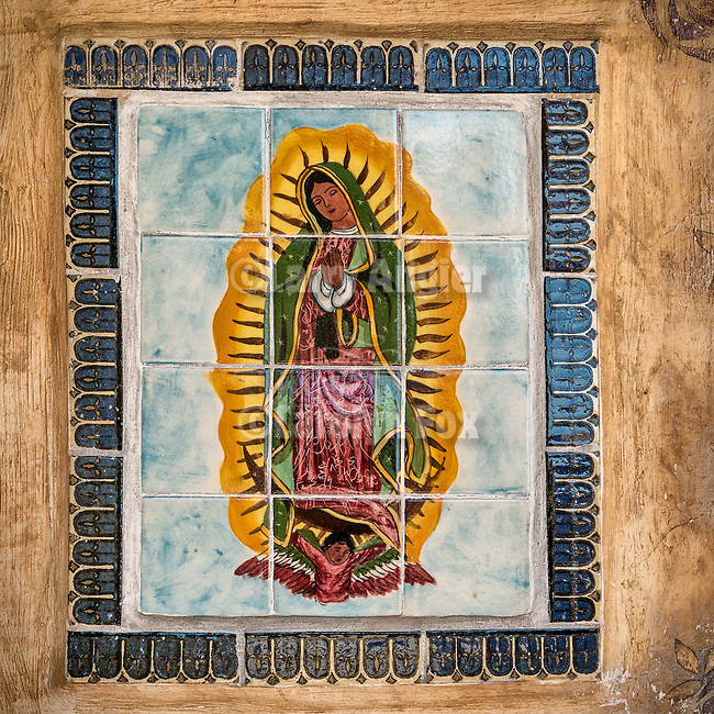 Tile of Our Lady of Guadalupe on the wall of Historic Mission San Antonio de Padua, Jolon, Calif.<br /> <br /> 3rd of the California Missions and established by Fr. Junipero Serra, 1771.