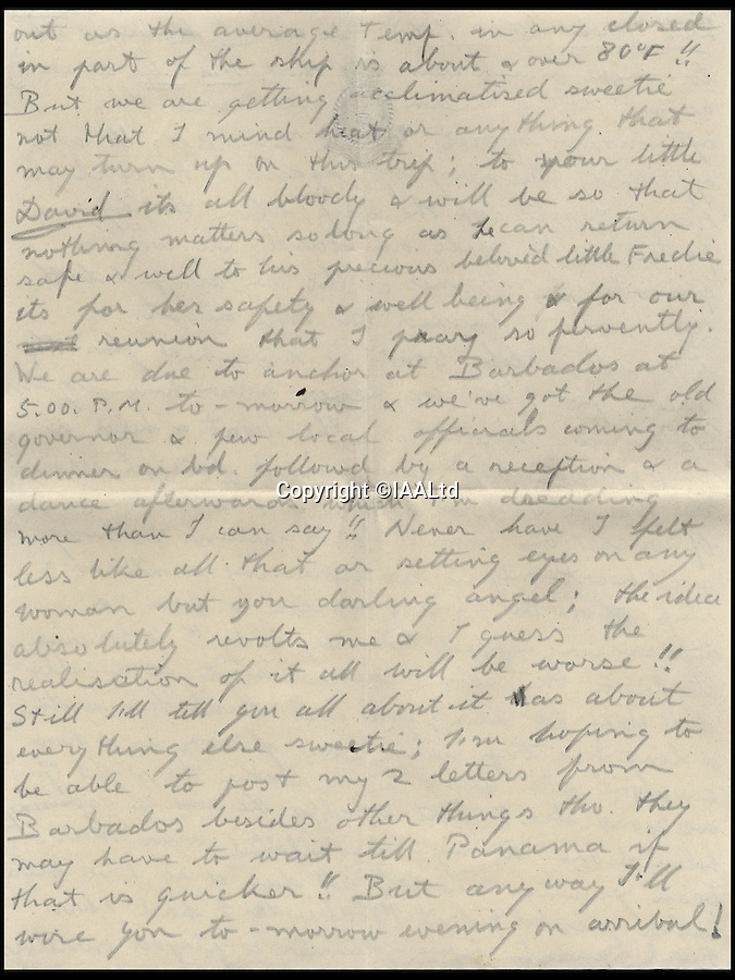 BNPs.co.uk (01202 558833)<br /> Pic: IAALtd/BNPS <br /> <br /> ***Use Full Byline***<br /> <br /> Page nine of Edward VIII letter. <br /> <br /> A remarkable letter written by controversial monarch Edward VIII that exposes him as an ungrateful, sexist and racist prince has come to light.<br /> The Prince of Wales, who later became the first King to voluntarily abdicate, told of the 'miserable and loathsome' time he was having on a Caribbean cruise.<br /> He visited Barbados in 1920 in what was supposed to be a diplomatic trip of the British Empire but he described the tropical paradise as a 'bum place'.<br /> The Royal reported the local scenery as being 'ugly' and he found the 'coloured population' to be 'revolting'.<br /> The letter is being sold on Saturday in London.
