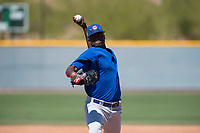 Chicago Cubs relief pitcher Jose Paulino (30) during a Minor League Spring Training game against the Oakland Athletics at Sloan Park on March 19, 2018 in Mesa, Arizona. (Zachary Lucy/Four Seam Images)