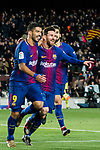 Lionel Andres Messi (C) of FC Barcelona celebrates his goal with teammates Luis Alberto Suarez Diaz and Andre Filipe Tavares Gomes during the Copa Del Rey 2017-18 Round of 16 (2nd leg) match between FC Barcelona and RC Celta de Vigo at Camp Nou on 11 January 2018 in Barcelona, Spain. Photo by Vicens Gimenez / Power Sport Images