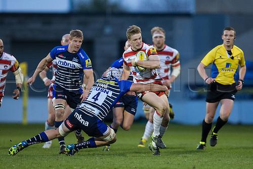 29.04.2016. AJ Bell Stadium, Salford, England. Aviva Premiership Sale Sharks versus Gloucester Rugby. Sale Sharks lock Bryn Evans tackles Gloucester Rugby centre Ollie Thorley.
