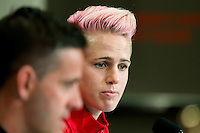 June 20, 2015: Sophie SCHMIDT of Canada at a press conference prior to a round of 16 match between Canada and Switzerland at the FIFA Women's World Cup Canada 2015 at BC Place Stadium on 21 June 2015 in Vancouver, Canada. Sydney Low/Asteriskimages.com