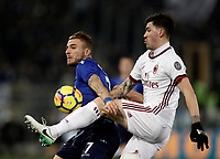 Football Soccer: Tim Cup semi-final second Leg, SS Lazio vs AC Milan, Stadio Olimpico, Rome, Italy, February 28, 2018.<br /> Milan's Alessio Romagnoli (r) in action with Lazio's Ciro Immobile (l) during the Tim Cup semi-final football match between SS Lazio vs AC Milan, at Rome's Olympic stadium, February 28, 2018.<br /> UPDATE IMAGES PRESS/Isabella Bonotto
