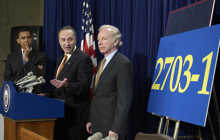 05/12/05.DEMOCRATS ON 'NUCLEAR OPTION'--Sen. Barack Obama, D-Ill., Sen. Charles E. Schumer, D-N.Y., and Sen. Joseph I. Lieberman, D-Conn., during a news conference on judicial nominations..CONGRESSIONAL QUARTERLY PHOTO BY SCOTT J. FERRELL