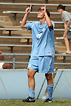 06 September 2009: UNC's Cameron Brown reacts after scoring the game's first goal. The University of North Carolina Tar Heels defeated the Evansville University Purple Aces 4-0 at Fetzer Field in Chapel Hill, North Carolina in an NCAA Division I Men's college soccer game.