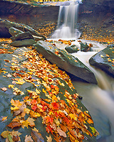 Autumn at Blue Hen Falls, Waterfalls in Cliffs Surrounding River, Cuyahoga Valley National Park, Cuyahoga River Valley, Ohio