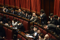 Roma, 15 Marzo 2013.Montecitorio, Camera dei Deputati.Primo giorno in Aula della XVII Legislatura del Parlamento italiano.Il settore dei deputati del Movimento 5 Stelle.Alessandro Di Battista