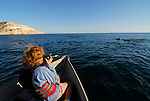 Woman photographing dolphin from skiff.