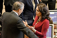 BOGOTÁ -COLOMBIA. 20-07-2017: Telesforo Pedraza (Izq) y Vivian Morales (Der), senadores, durante la ceremonia de instalación de la legislatura 2017 2018 del Congreso de la República de Colombia realizado hoy, 20 de julio de 2017, en el salón Elíptico del Capitolio Nacional de Colombia en la ciudad de Bogotá. / Telesforo Pedraza (L) and Vivian Morales (R), senators, during the ceremony of installation of the Legistature 2017 2018 of the Congress of the Republic of Colombia made today, July 20 2017, at Ellipptical room of the National Capitol of Colombia in Bogota city . Photo: VizzorImage/ Gabriel Aponte / Staff