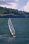 Windsurfer in the San Francisco Bay between the Presidio and Marin, San Francisco, California