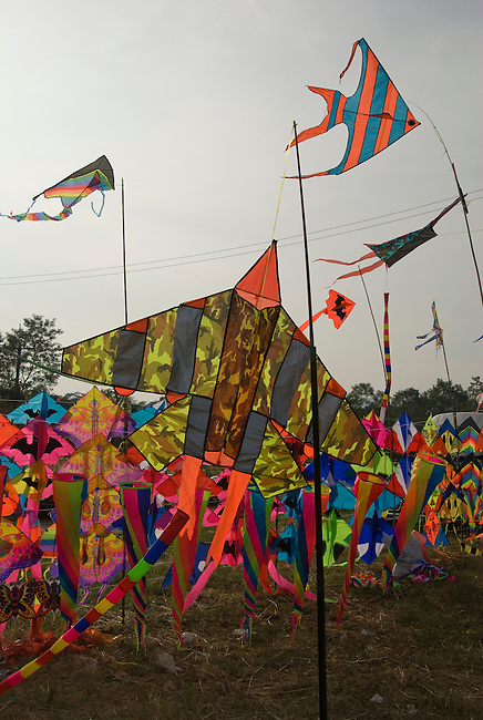 Thai kites for sale blow in the wind