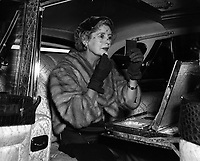 BNPS.co.uk (01202 558833)<br /> Pic: Bonhams/BNPS<br /> <br /> Lady Docker powdering her nose in the 'Stardust' Daimler.<br /> <br /> Downfall - The car that led to the chairman of Daimler's dramatic fall after the extravagent behaviour of his notorious socialite wife.<br /> <br /> This luxurious limousine designed by legendary aristocrat Lady Docker as a vanity project, and which eventually cost her and her husband their jobs, is tipped to sell for &pound;160,000 at Bonhams.<br /> <br /> The unique 'Stardust' Daimler was one of five show cars styled by exuberant socialite Lady Docker and cost so much they almost bankrupt the company behind them.<br /> <br /> The 1954 dark blue Daimler was so lavish it has 5,000 hand painted silver stars on the exterior, an interior full of crocodile skin and hand woven silk, and even a dancer mascot on the bonnet modelled on ex-showgirl Norah Docker herself.<br /> <br /> The flamboyant vehicle is even being sold with an invitation to Princess Grace's Monaco wedding in 1956, to which the Dockers shipped two of the luxury cars for their own personal use, and was the final straw for frustrated Daimler board members back home in austerity hit Britain.