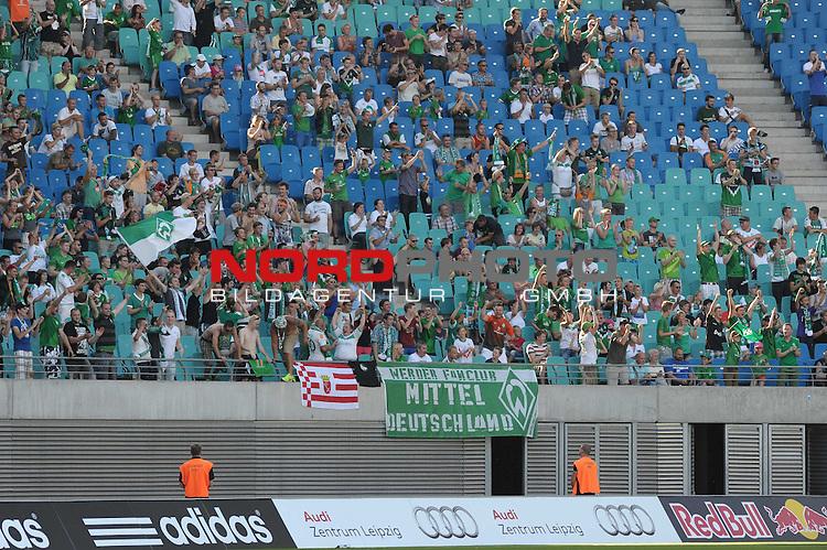 23.07.2013, Red Bull Arena, Leipzig, GER, 1.FBL, FSP, RB Leipzig vs Werder Bremen, im Bild Jubel bei den Werder-Fnas<br /> <br /> Foto &copy; nph / Frisch