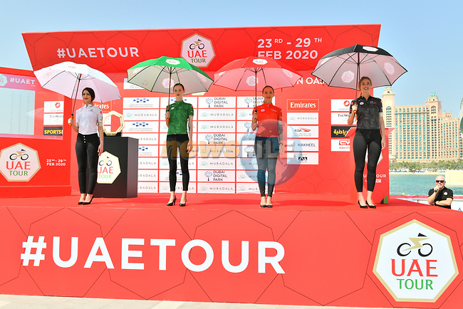 The leaders jerseys on display before Stage 1 of the UAE Tour 2020 running 148km from The Pointe to Dubai Silicon Oasis, Dubai. 23rd February 2020.<br /> Picture: LaPresse/Massimo Paolone | Cyclefile<br /> <br /> All photos usage must carry mandatory copyright credit (© Cyclefile | LaPresse/Massimo Paolone)