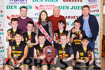 The Gaelscoil Aogain team celebrate after winning the Junior Boys NS final at the St Mary's Basketball blitz in Castleisland on Sunday front row l-r: Daniel Kenny, Mark Curtin, Adam Cahill, Adrian Walsh row: AJ O'Connor,Mike Cahill, Cian Cahill, Shauna Ahern Miss Basketball,  Denny Porter coach, Glin O'Sullivan, Jack Hegarty, Tomas O'Connor Principal