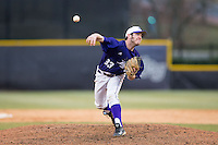 High Point Panthers relief pitcher Joe Goodman (33) delivers a pitch to the plate against the UNCG Spartans at Willard Stadium on February 14, 2015 in High Point, North Carolina.  The Panthers defeated the Spartans 12-2.  (Brian Westerholt/Four Seam Images)