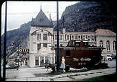 Information caboose in Ouray with Beaumont Hotel across street.<br /> D&amp;RGW  Ouray, CO