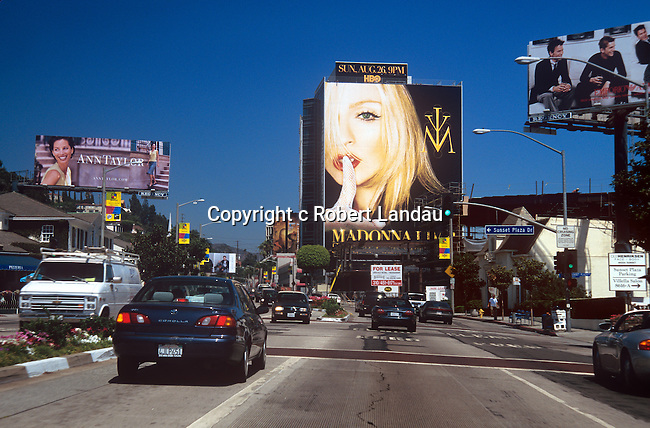 Madonna billboard on the Sunset Strip  for Madonna Live: The Drowned World Tour Airing Live  on HBO Aug. 26, 2001.