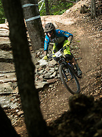 NWA Democrat-Gazette/BEN GOFF @NWABENGOFF<br /> Brandon Daurelio competes in a stage Saturday, Aug. 18, 2018, during the Eureka Springs round of the Arkansas Enduro Series at Lake Leatherwood City Park. The event continues Sunday with stages at the Passion Play trails and an urban downhill leg through downtown Eureka Springs. The fifth and final race of the Arkansas Enduro Series season takes place Sept. 22 at the Coler Mountain Bike Preserve in Bentonville. Enduro is a type of mountain bike race with multiple time trial stages that are mostly downhill and technical. The downhill stages are linked together by untimed transition stages or shuttle buses.