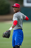 Lakewood BlueClaws infielder Daniel Brito (21) warms up in the outfield prior to the game against the Kannapolis Intimidators at Kannapolis Intimidators Stadium on April 6, 2017 in Kannapolis, North Carolina.  The BlueClaws defeated the Intimidators 7-5.  (Brian Westerholt/Four Seam Images)