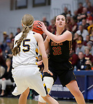 SIOUX FALLS, SD: MARCH 10:  Brianna Kusler #32 of Northern State looks past Augustana defender Presley O'Farrell #35 during the 2018 NCAA Division II Women's Basketball Central Region Tournament at the Elmen Center in Sioux Falls, S.D.    (Photo by Dick Carlson/Inertia)