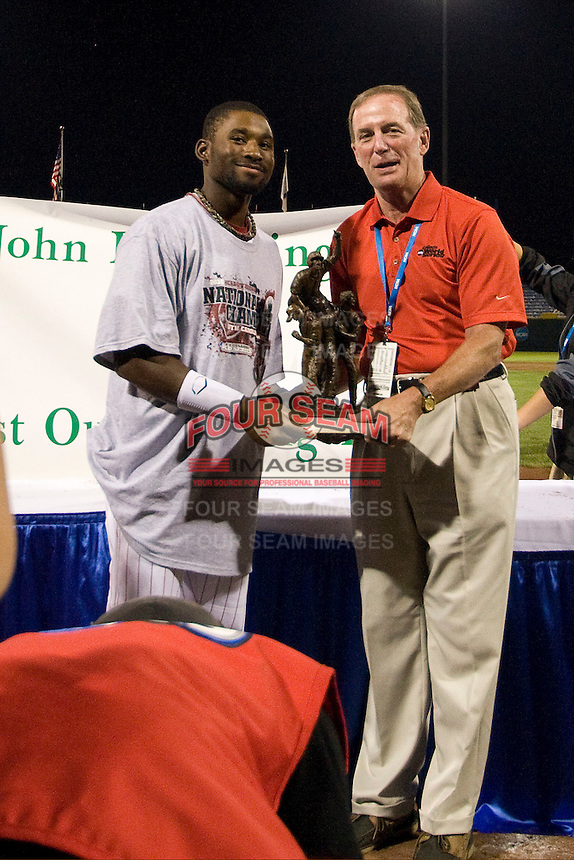 South Carolina CF Jackie Bradley Jr receives the Most Outstanding Player award following the NCAA Division One Men's College World Series Finals on June 29th, 2010 at Johnny Rosenblatt Stadium in Omaha, Nebraska.  (Photo by Andrew Woolley / Four Seam Images)