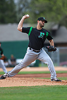 Dayton Dragons relief pitcher Austin Orewiler (9) delivers a pitch during a game against the Burlington Bees on May 3, 2018 at Community Field in Burlington, Iowa.  Dayton defeated Burlington 8-4.  (Travis Berg/Four Seam Images)