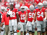 Ohio State Buckeyes quarterback Cardale Jones (12) and the offense react after the first quarter of the college football game between the Ohio State Buckeyes and the Northern Illinois Huskies at Ohio Stadium in Columbus, Saturday afternoon, September 19, 2015. As of half time the Ohio State Buckeyes were tied with the Northern Illinois Huskies 10 - 10. (The Columbus Dispatch / Eamon Queeney)