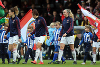 Arsenal women enter the pitch before Arsenal Women vs Manchester City Women, FA Women's Super League Football at Meadow Park on 11th May 2019