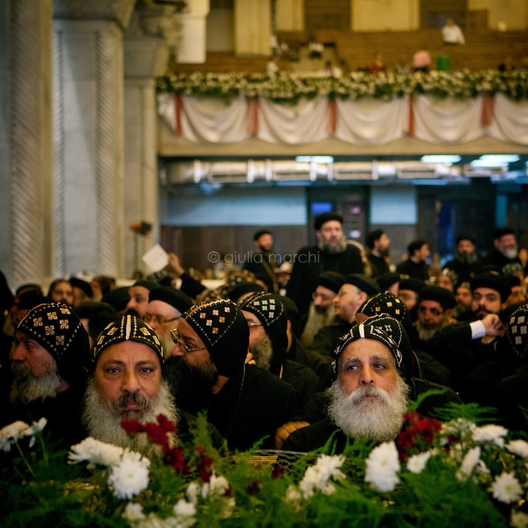 Egypt / Cairo / 18.11.2012 / Coptic priests in St Mark Cathedral in Abbasseya when Theodoros II or Tawadros II was formally enthroned on November 18, 2012 as the 118th pope. © Giulia Marchi