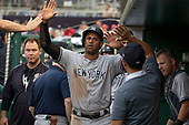 New York Yankees center fielder Aaron Hicks (31) celebrates with teammates after scoring his team's first run in the first inning against the Washington Nationals at Nationals Park in Washington, D.C. on Monday, June 18, 2018.  This is the make-up game that was scheduled to be played on May 16, 2018 that was postponed due to rain.<br /> Credit: Ron Sachs / CNP<br /> (RESTRICTION: NO New York or New Jersey Newspapers or newspapers within a 75 mile radius of New York City)