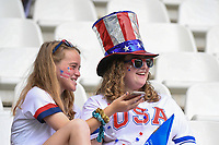 20190624 - REIMS , FRANCE : illustration picture shows the fans  during the female soccer game between Spain and USA , a knock out game in the round of 16 during the FIFA Women's  World Championship in France 2019, Monday 24 th June 2019 at the Stade Auguste Delaune Stadium in Reims , France .  PHOTO SPORTPIX.BE | DIRK VUYLSTEKE