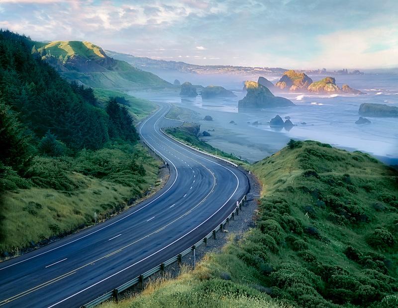 Cape Sebastian with road at sunrise. Oregon.