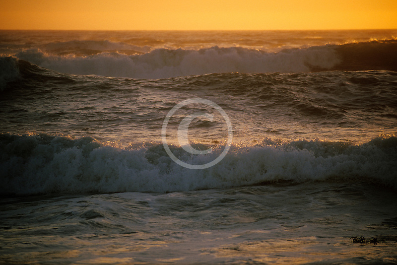 California, Moss Landing, Pacific Ocean at sunset